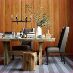 Wooden dining table idea without finish by Emmerson two units of dark leather dining chair and a tree trunk seating