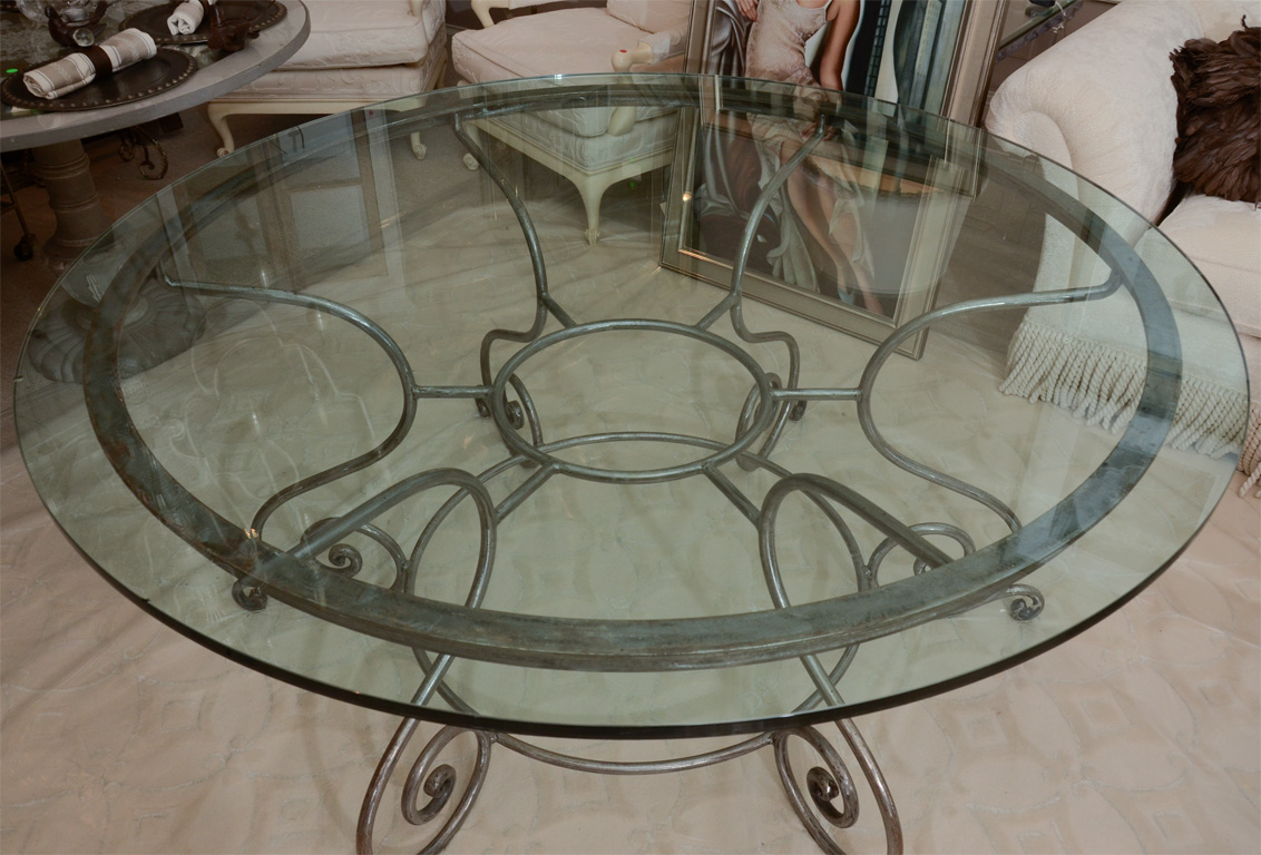 Wrought Iron Kitchen Round Table With Gl On Top