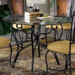 Yellow Chairs With Modern Wrought Iron Kitchen Glass Table With Beautiful Rug