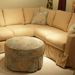 admirable custom couch covers with brown fabric decorated with patterned ottoman cofee table plus pretty cushion