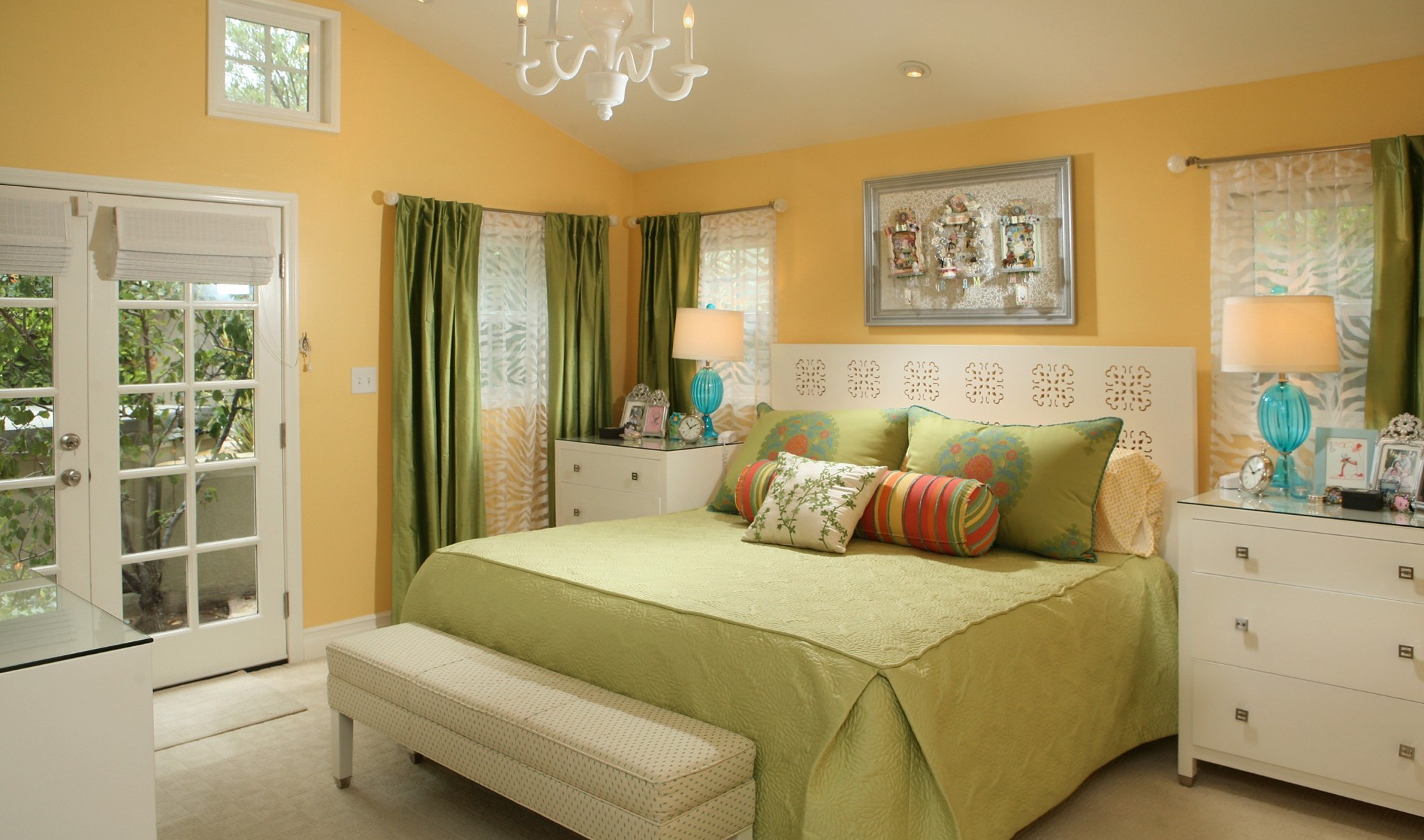 Adorable Bedroom With Best Color Paint For Small Room Of Orange And Green Comfortable Bedding