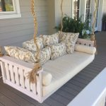 adorable best rated air mattress idea with smooth beige patterned cushions and jute rope on the porch with gray wooden flooring