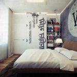 Adorable Garage Refined Bachelor Pad Furniture Idea With White Bedding And Navy Blue Brick Wall Accent And Wall Racks And Glass Window With White Sheer Curtain And Wooden Floor