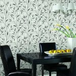 adorable grassy patterned retro wallpaper idea with black dining set and indoor plant with white chandelier