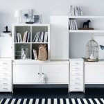 adorable home office design with white walmart filing cabinet design and desk and stripe patterned black and white rug