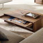 adorable modern wooden walmart coffee table idea with sliding strage on creamy area rug with gray sofa