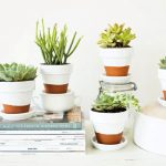 adorable super small pots design for indoor plant for succulent planter idea on book and pouff