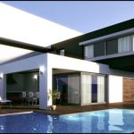 amazing architectural modern two storey house design with hovering style and swimming pool and white concrete siding