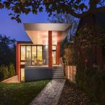 amazing small compact home design idea with tan beams and glass window and door with geometrical accent