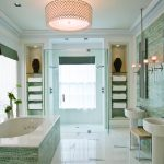 amusing bathroom ideas with ming green marble tile and stunning bathtub and ceramic sink plus walk in shower and wall scones and ceiling pendant lamp