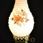 Artistic And Nice Vintage Milk Glass Hobnail Electric Hurricane Table Lamp With Beautiful Floral Design By Vintagecornerbazaar Placed On Wooden Table