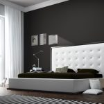 awesome bedroom ideas with modern king size bed frame and extra large headboard plus round black nightstand and cute pendant lamp and mesmerizing floor