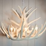 awesome home ideas with white antler chandelier with a lot of bulbs and chains plus canopy mounting kit plus wooden wall