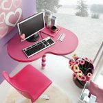 awesome home office design with pink furniture with pink heart shaped desk and pink chair and faux fur rug and open plan