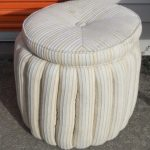 Awesome Small Round Ottoman In Soft Upholstery For Mesmerizing Home Ideas