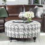 awesome small round ottoman in white and grey accents plus white rug together with brown leather couch and decorative cushion