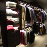 awesome walk in closet ideas in tiny space with wooden shelves and led closet lights and wooden floor