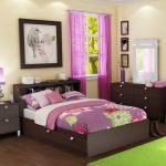 beautiful window treatment idea for bedroom in purple color with purle bedding and green area rug and wooden furniture with wall palette