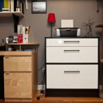 black and white walmart filing cabinet idea with three drawers with small red table lamp and unique shelves aside wooden beige desk