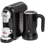 black cagliari espresso machine with milk frother for home