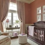 blackout curtains nursery with amazing drapes and adorable baby crib and polca ottoman plus vintage side table and rug plus beautiful armchair
