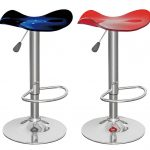 Blue And Red Funky Bar Stools With Adjustable Design With Chrome Metal Base For Home Decorating Ideas