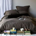 brown restoration hardware linen sheets in simple design and comfy big pillows