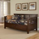 captivating wooden daybeds with storage with cool bedding linens and comfy cushion with beige rug on wooden floor