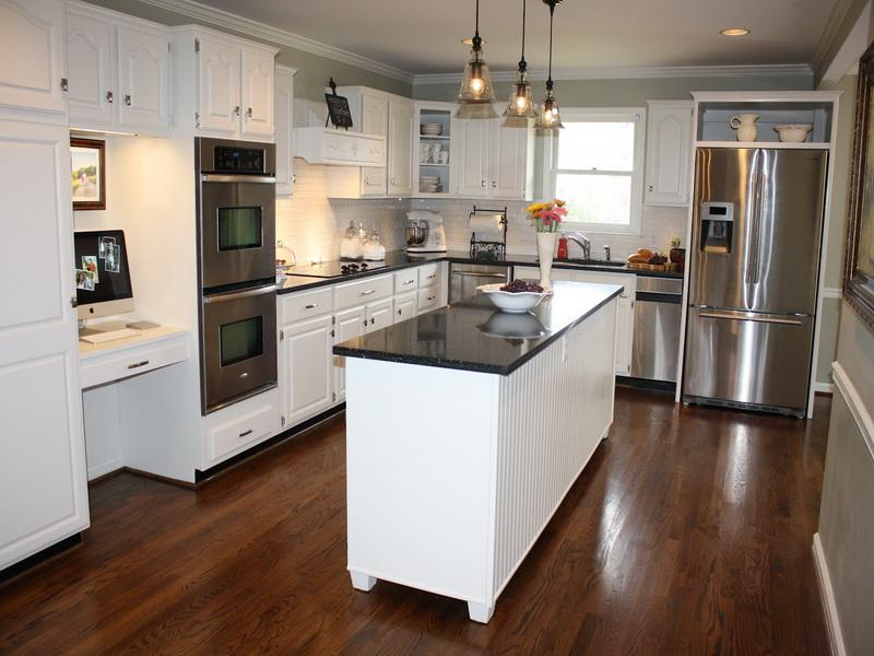 Kitchen Makeovers On A Budget With Stunning Light Fixture Plus Dark Brown Wooden Flooring And