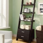 classic black painted modrn ladder bookshelf idea with drawer aside storage with glass window on wooden floor and white couch