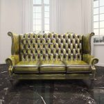 classy green dyied queen anne couch idea with win and curved armsrest on glossy marble classic flooring design