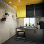 classy white yellow kitchen wall decoration idea with black wodoen cabinetry with indoor plants and wall racks and ceiling lighting