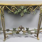 classy wrought iron sofa table with ornamented table base and wooden top for pretty home ideas