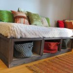 comfortable daybeds with storage underneath combined with furry bedding linen and simple rug and colorful cushions