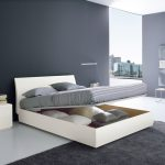 Compack And Spacesaving Modern King Size Bed Frame With Storage Underneat Plus Grey Rug And Wal