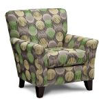 cool accent chairs with polka upholstery and short wooden legs and comfy back plus arm for comfy living room ideas