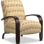 cool accent chairs with wooden arms and polkadot upholstery for affectionate familiy room