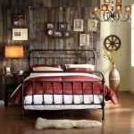 country and rustic oxford creek furniture with metal bed frame plus wooden wall decorated with pictures and classy night stand plus wooden floor