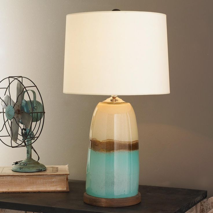 Cute Turquoise And Cream 3 Way Table Lamps With Unique Pudding Lamp Post White Shades