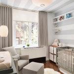 elegant blackout curtains nursery with grey baby crib and grey armchair with ottoman plus stiped grey and white wallpaper and wall shelf and awesome wall lamp
