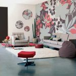 elegant retro wallpaper design with pink gray combination and round wall mirrors and gray sofa design and red stool and white area rug