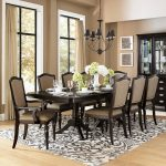 fascinating dining room ideas with oxford creek furniture consisting of long rectangular wooden table and comfy dining chairs plus patterned rug and classic ceiling lamp