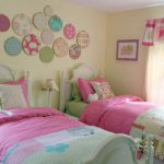 Feminine Pink Bedroom Design For Twin With Wall Plate Decoration And Glass Window And Custom Lamp Shade