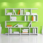 fresh green painted wall in the living room with white bookcase idea with pottery decoration