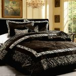glamour bedroom design with leopard animal print cool comforter sets plus classy ceiling lamp plus pictures on wall decoration