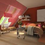gorgeous pink colored small attic bedroom design with pink orange bedding and white wall pallete and skylight and wooden floor and orange chairs
