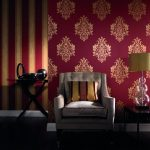 gorgeous pink stripe ad floral patterned retro wallpaper design with gray couch and yellow table lamp