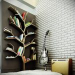 gorgeous tree shaped bookshelves idea in large room with double height ceiling and brick wall accent and area floor rug ad wooden floor