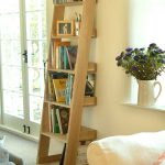 great beige modern ladder bookshelf design with indoor plant and creamy sofa design and glass window and door