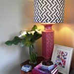 great custom lamp shade design with pink stand and picture and indoor plant and wooden table
